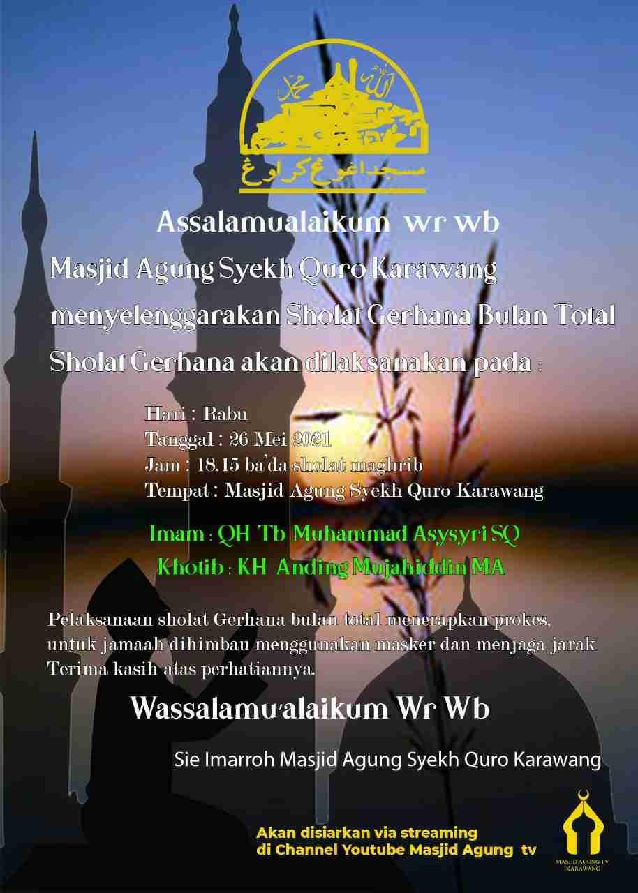 Sholat gerhana bulan total di masjid agung Karawang