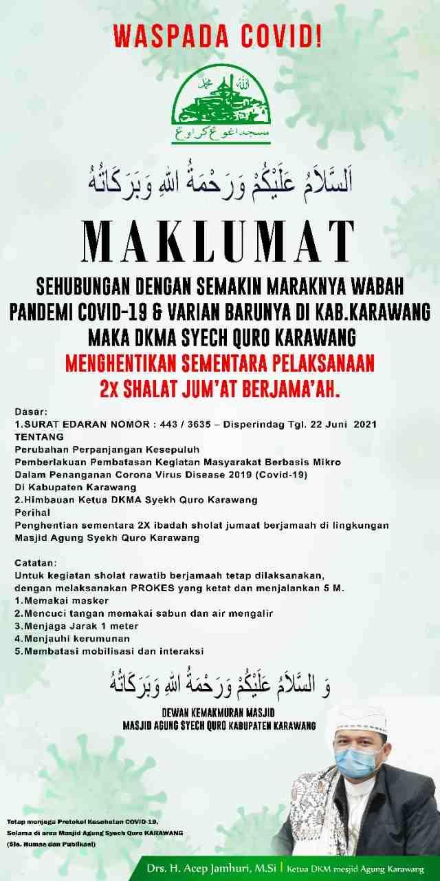 Masjid Agung Karawang hentikan sementara 2 kali sholat jum'at